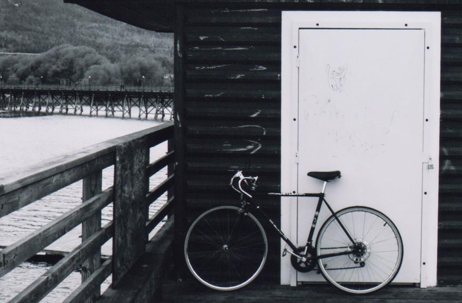 Road bike on the warf in Salmon Arm